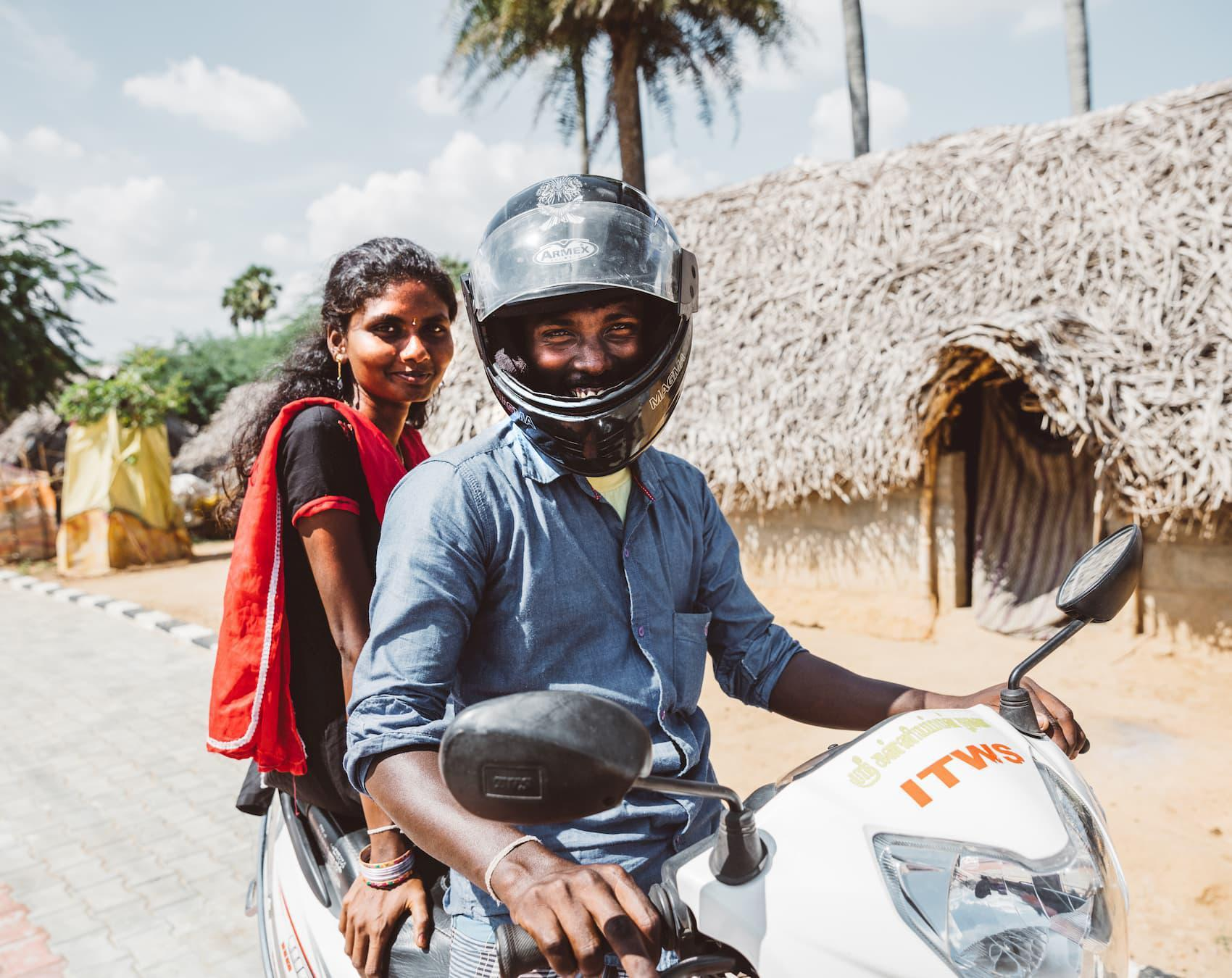 Arul and Pachayamma on his bike