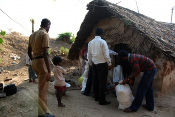 The hut where the family lived—but spent little time together since Ragesh had to report for work hours before dawn.