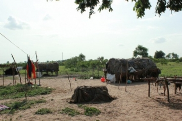 The slaves lived in makeshift tents like these, with no access to clean water or proper toilets.