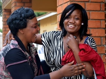 Irene celebrated with IJM Zambia staff and friends at the end of her 8-year court battle.