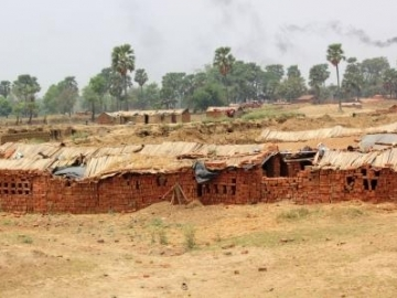 The slaves slept in these long, narrow huts. Livestock roamed about and sometimes slept in the very same shelters.