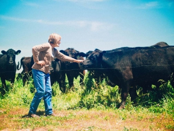 She brought home her first cow, Daisy, in 2005 and has tended dozens of ethically-raised cattle since then.