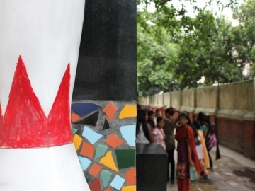 Trafficking survivors from several aftercare homes in Kolkata gather outside the activity center for a day of fun organized by IJM social workers.
