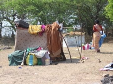 The slaves had been moved from site to site, forced to sleep in makeshift tents