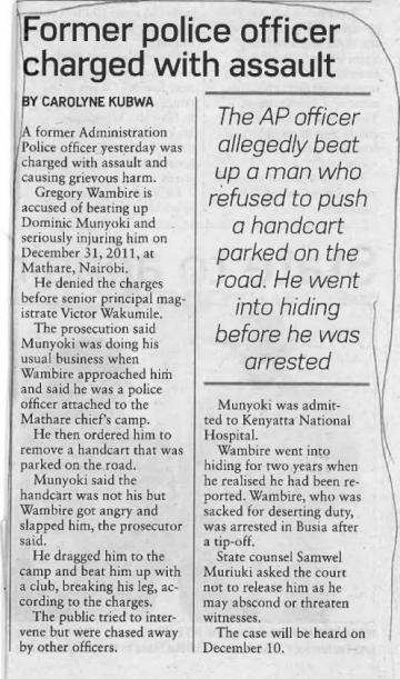 A Kenyan newspaper highlights the arrest of the powerful officer who allegedly beat Derek.*