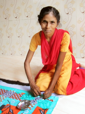 Each quilt made by these women will go to a survivor of sex trafficking in Mumbai.