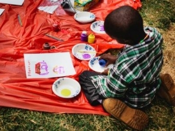 During the graduation ceremony, children painted and played games. While the child sexual assault survivors will still continue to work through the abuse they have suffered, the graduation was an opportunity to pause and celebrate the progress they have made.