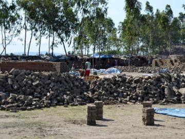 Laborers were still at work making bricks when IJM and the local government entered the facility.