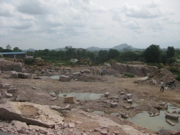 The rock quarry where the families were trapped for more than a decade as slaves.
