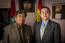 Dr. Tarquino, justice system actor meets with Fernando Rodriguez, previous Bolivia field office director.