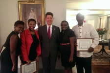 Pictured left to right at the British High Commission: Esther Njuguna-Muigai (IJM Kenya Senior Aftercare Specialist), Joan Ngaruiya (IJM Kenya contract counselor), Dr. Christian Turner (British Ambassador to Kenya), Leah Awour (IJM Kenya Advocate), Solomon Mathenge (IJM Kenya contract counselor)